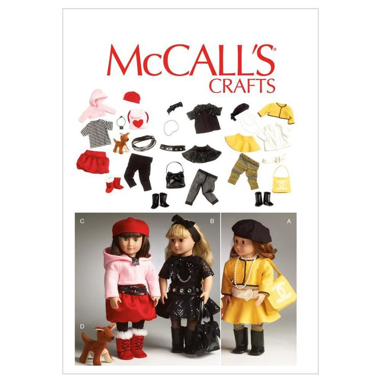 McCall's Pattern M6669 Clothes For 18' Doll Accessories & Dog One Size