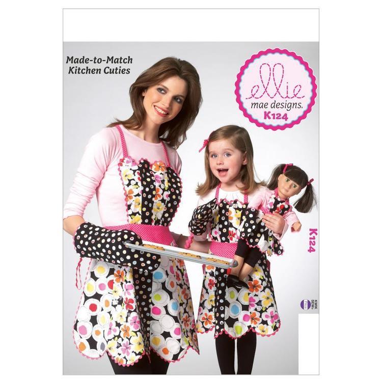 Kwik Sew Pattern K0124 Adult Children's & 18 Inch Doll Aprons & Mitt