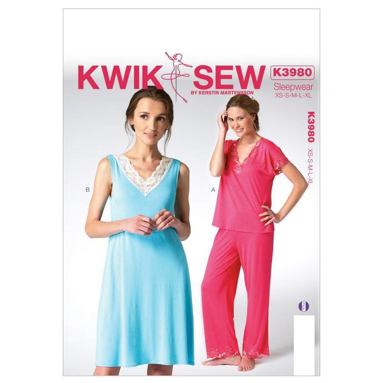 Kwik Sew K3980 Misses' Top Nightgown & Pants One Size