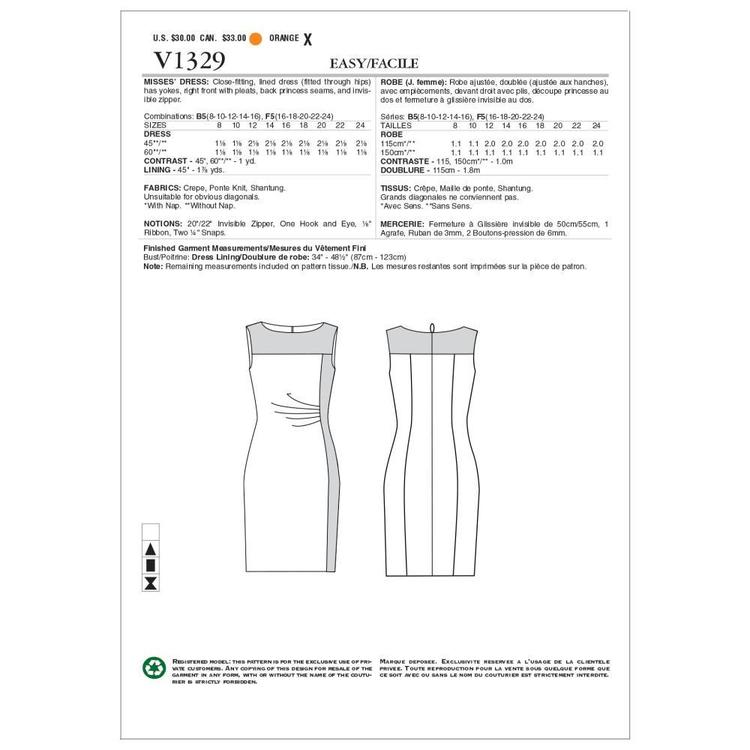 Vogue Pattern V1329 Misses' Dress