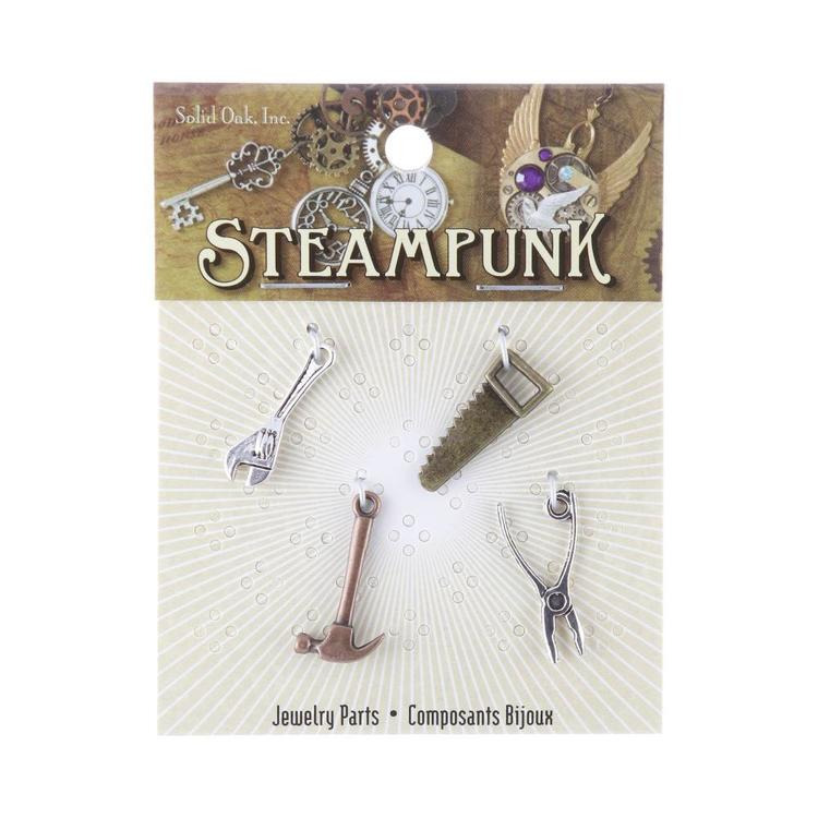 Steampunk Carpenter Tool Charms Multicoloured