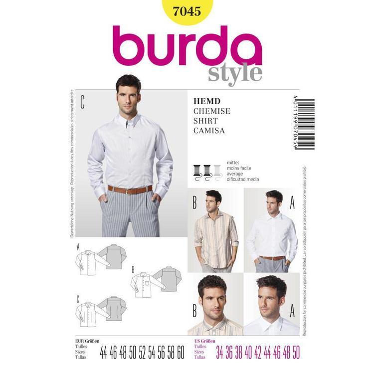 Burda Pattern 7045 Men's Shirt