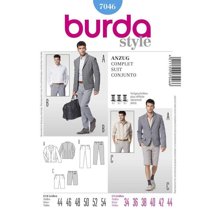 Burda Pattern 7046 Men's Suit