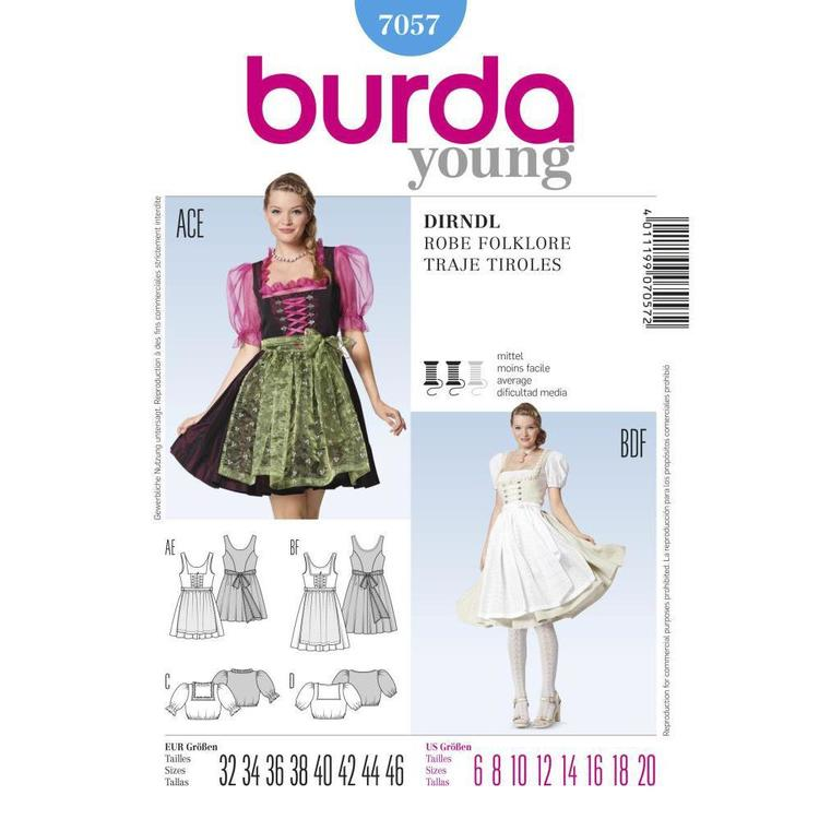 Burda 7057 Women's Folklore Costume  6 - 20