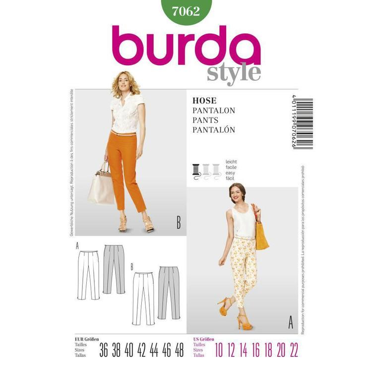 Burda 7062 Women's Pants  10 - 22