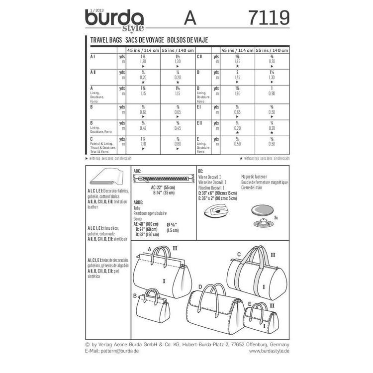 Burda Pattern 7119 Travel Bag