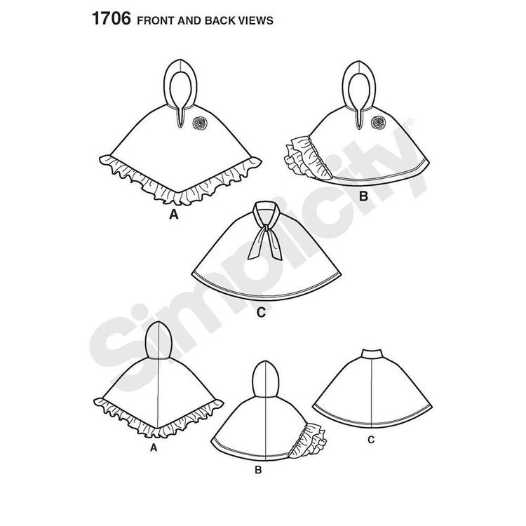 Simplicity Pattern 1706 Kid's Cape  Small - Large