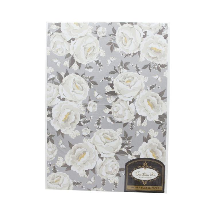Cristina Re Pearl Peonies Lustre Paper White & Grey A4