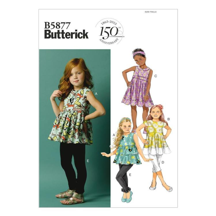 Butterick Pattern B5877 Girls' Top Tunic Dress Belt & Leggings