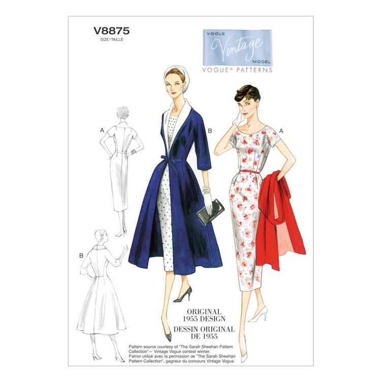 Vogue Pattern V8875 Misses' Dress Belt Coat & Detachable Collar