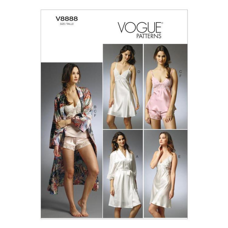 Vogue Pattern V8888 Misses' Robe Slip Camisole & Panties