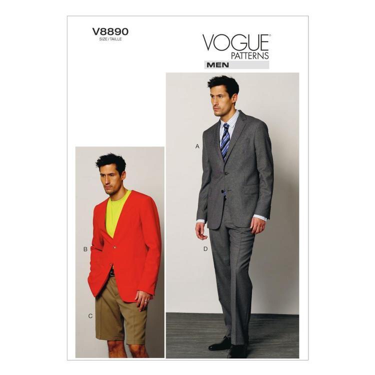 Vogue Pattern V8890 Men's Jacket Shorts & Pants