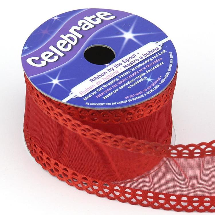 Celebrate 38 mm Organza with Frill Edge Ribbon Red 38 mm x 3 m
