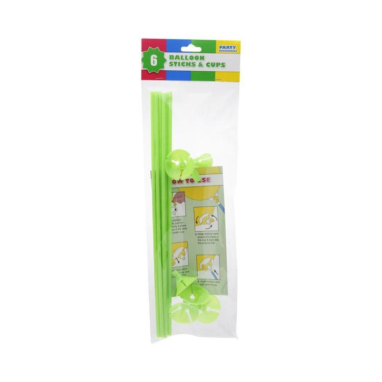 Balloon Stick & Cup 6 Pack
