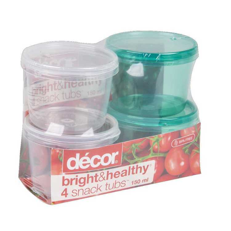 Decor Bright & Healthy 4 Snack Tubs 150 mL Clear