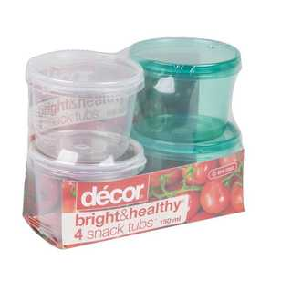 Decor Bright & Healthy 4 Snack Tubs 150 mL