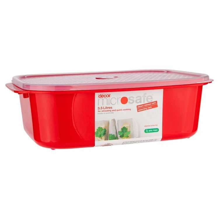 Decor Microsafe Oblong Container With Steaming Rack Red