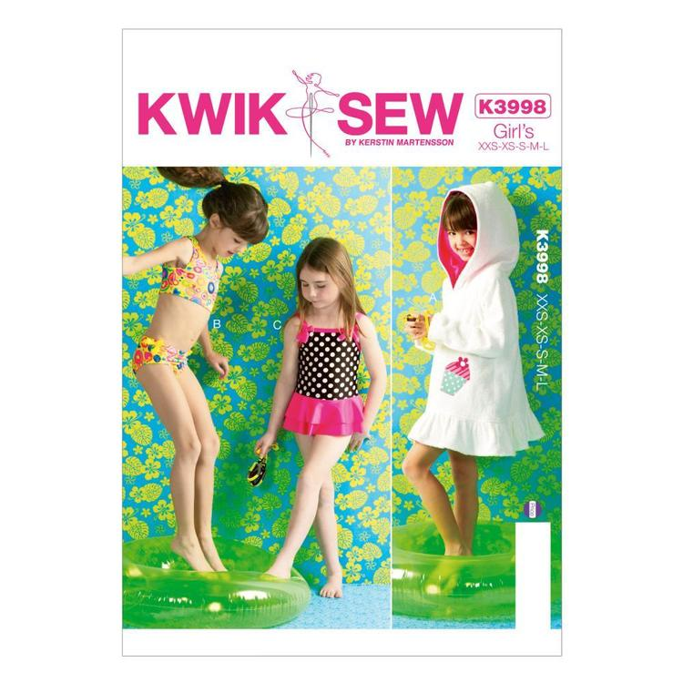 Kwik Sew Pattern K3998 Girls' Cover-Up & Swimsuits