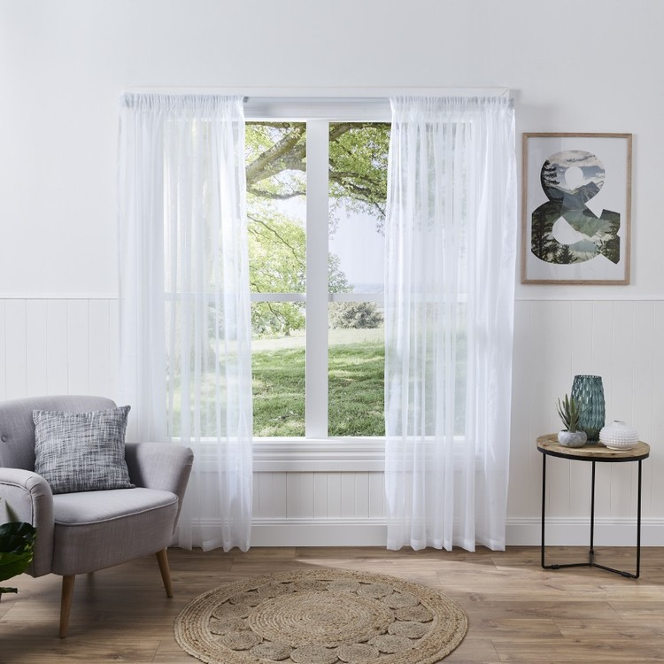 Filigree Sienna Pencil Pleat Sheer Curtains White