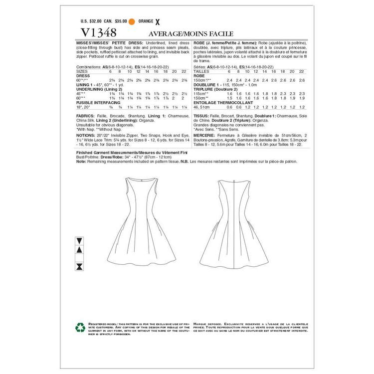 Vogue V1348 Misses' Petite Dress