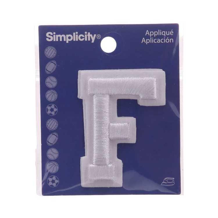 Simplicity Raised Letter F Iron On Motif