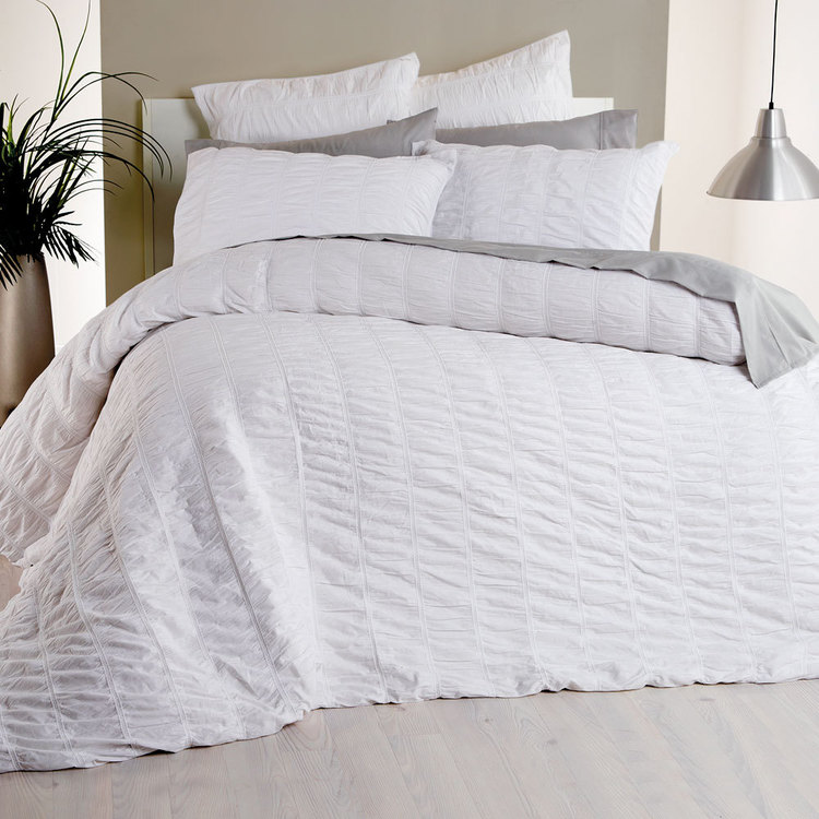 KOO Bella Ruched Quilt Cover Set White