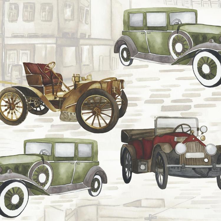 Vintage Motor Car Printed Fabric Cream 150 cm