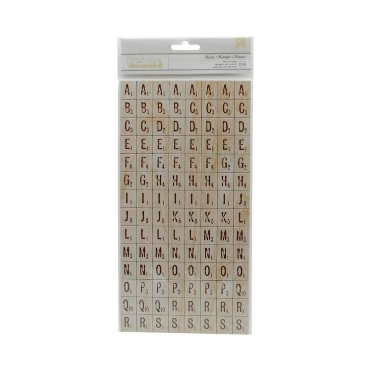 American Crafts Thickers Printed Tiles Chipboard