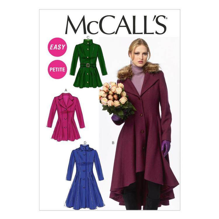 McCall's M6800 Miss Petite Lined Coats Belt & Detachable Collar & Hood