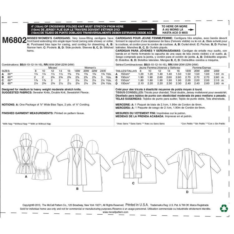 McCall's Pattern M6802 Womens' Cardigans