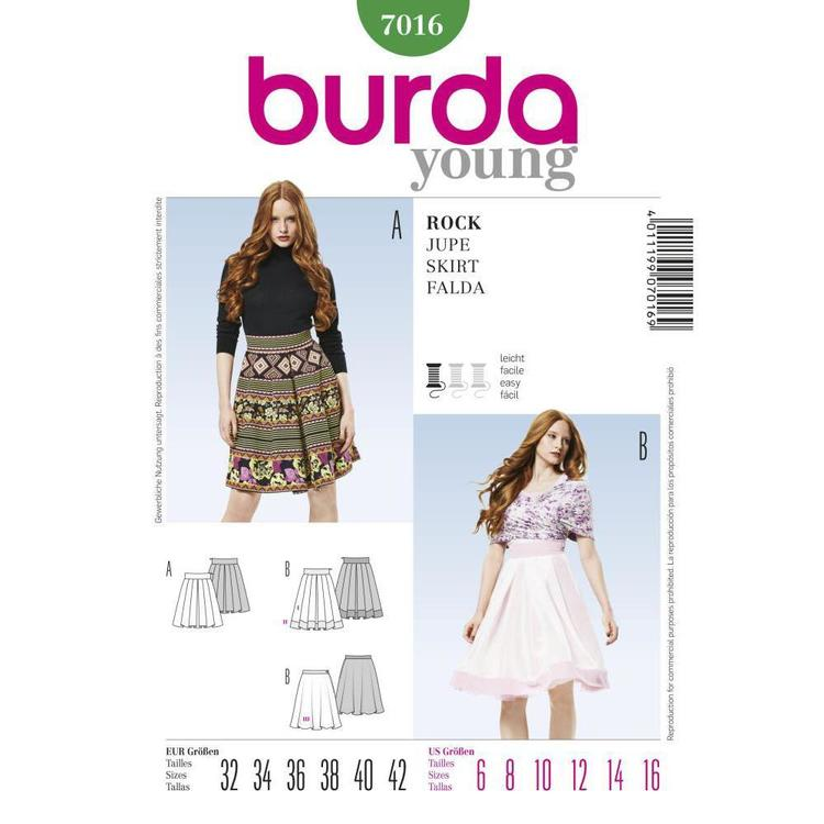 Burda Pattern 7016 Women's Skirt  6 - 16