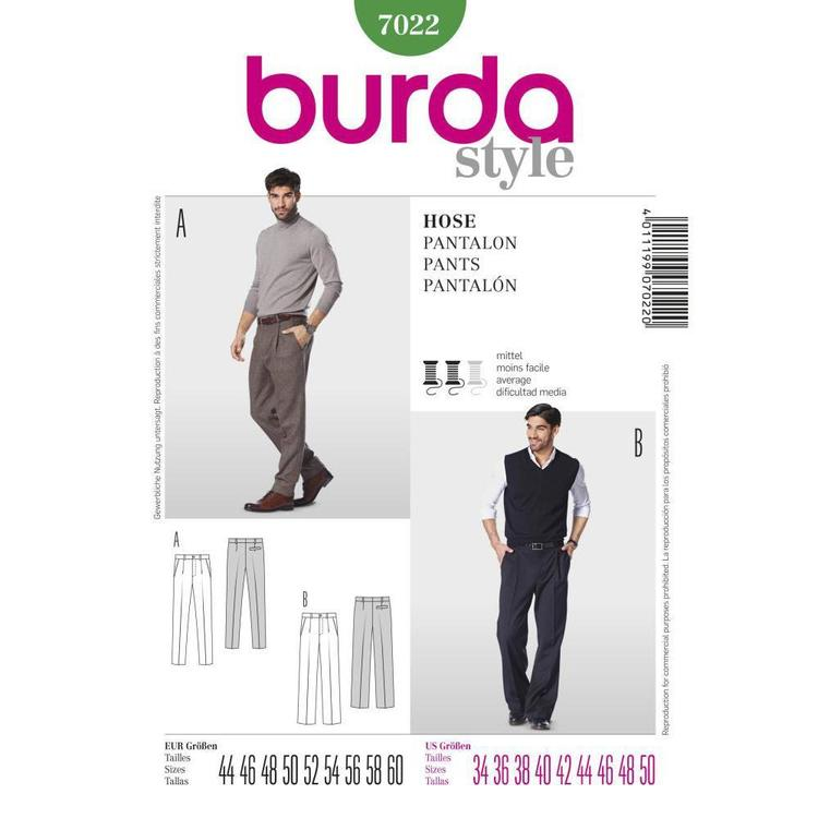 Burda Pattern 7022 Men's Pants