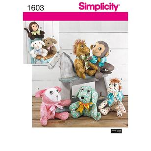 Simplicity 1603 Toy Stuffed Animals