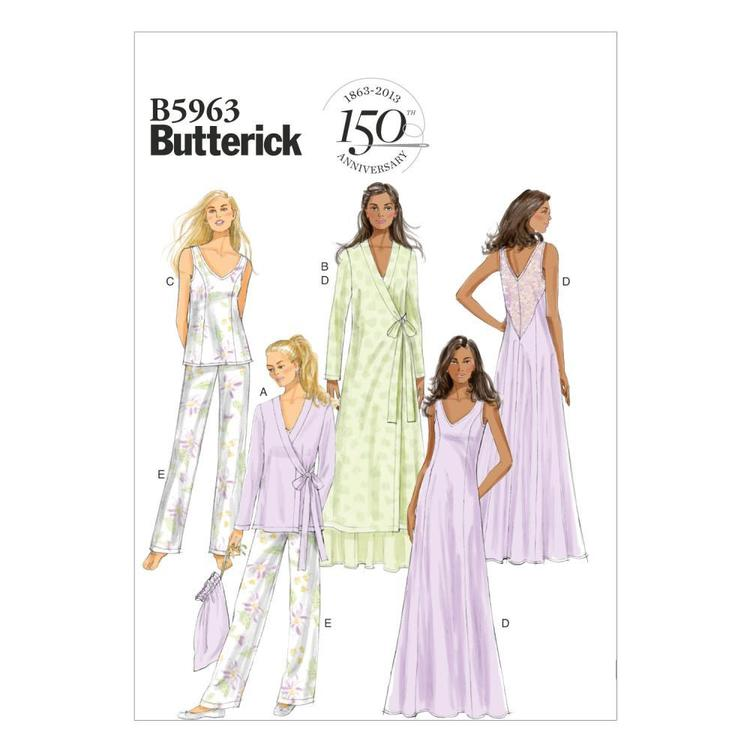 Butterick Pattern B5963 Misses' Robe Top Gown Pants & Bag