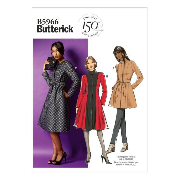 Butterick B5966 Women's  Jacket Coat & Belt