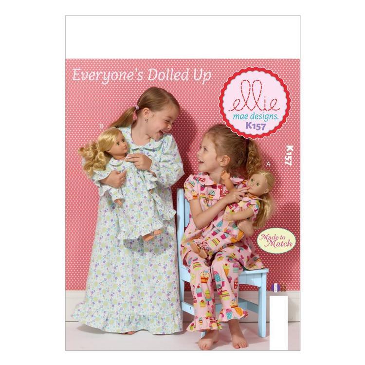 Kwik Sew Pattern K0157 Girls' & Doll Dolls' Loungewear