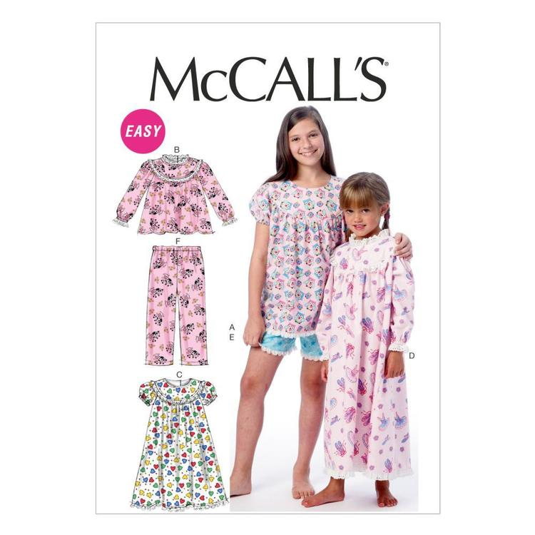 McCall's Pattern M6831 Girls' Tops Gowns Short & Pants