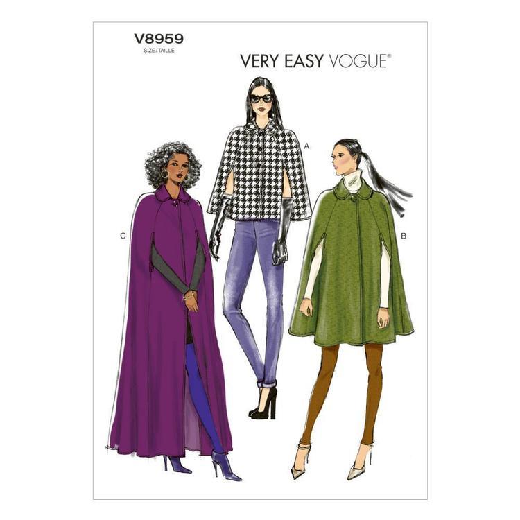 Vogue Pattern V8959 Misses' Cape