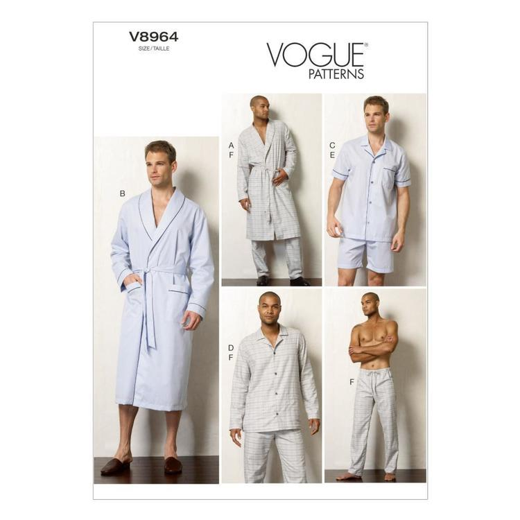 Vogue Pattern V8964 Men's Robe Top Shorts & Pants