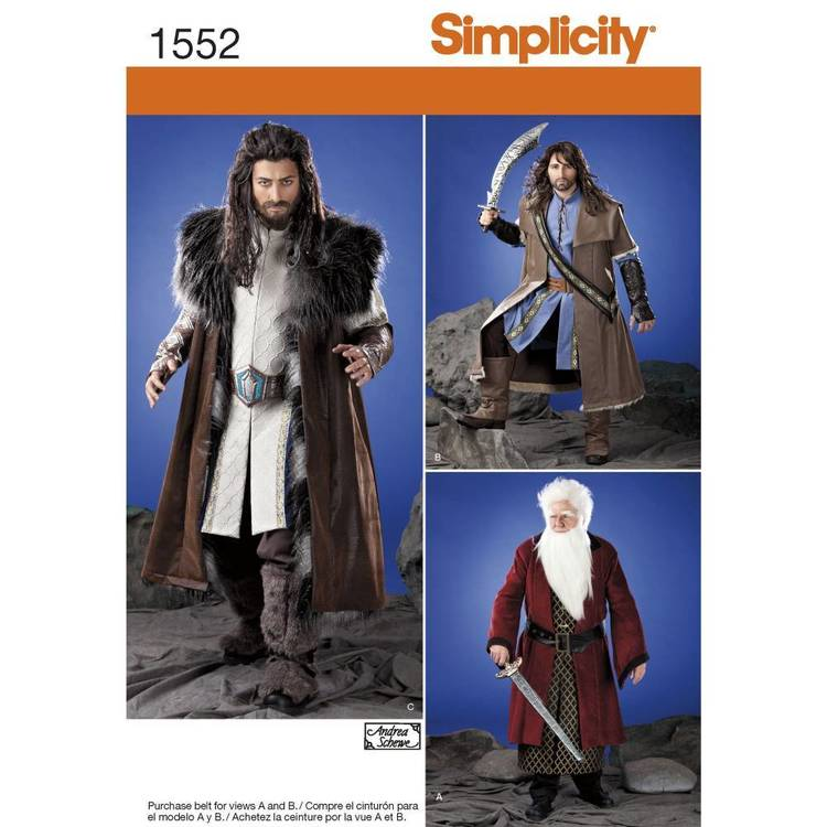 Simplicity Pattern 1552 Men's Medieval Tunic, Cloak, and Accessories X Small - X Large