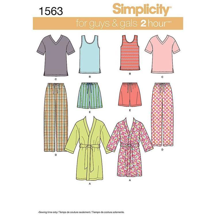Simplicity Pattern 1563 Unisex Sleepwear