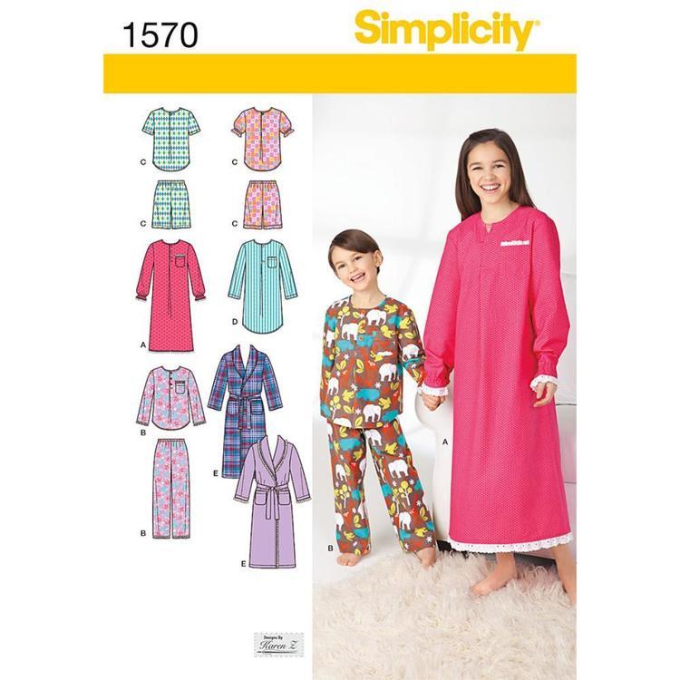 Simplicity Pattern 1570 Kid's Sleepwear