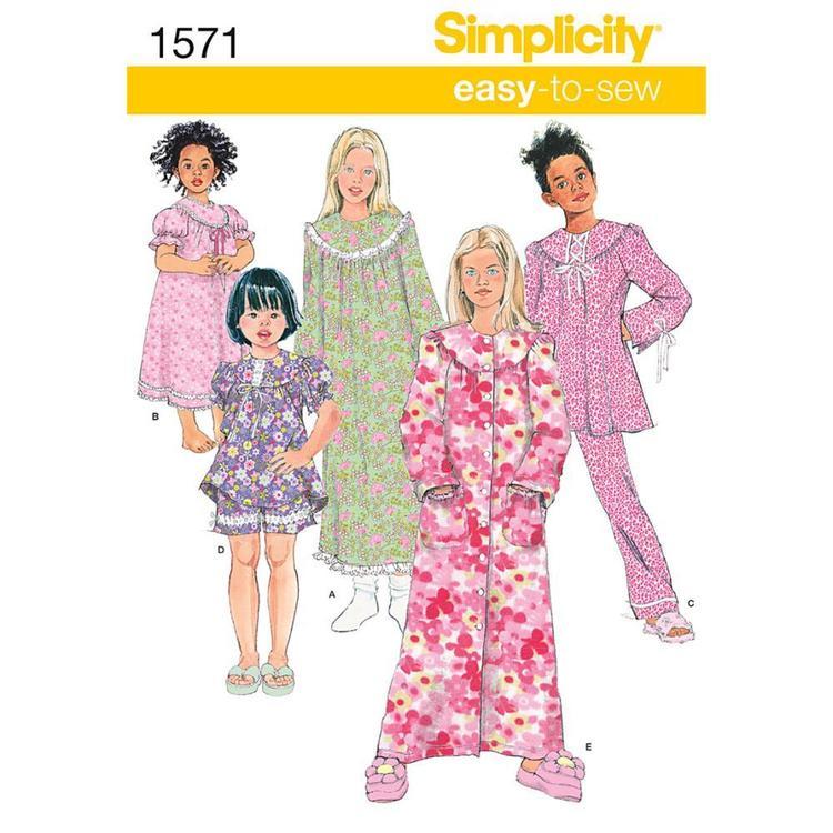 Simplicity Pattern 1571 Girl's Sleepwear