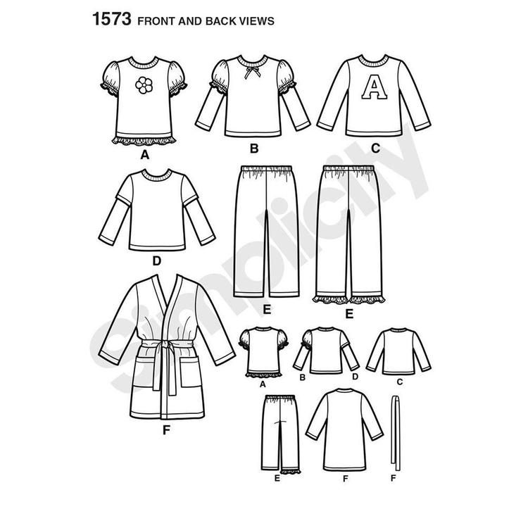 Simplicity Pattern 1573 Kid's Sleepwear