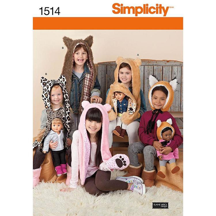 Simplicity 1514 Animal Hats  Small - Large