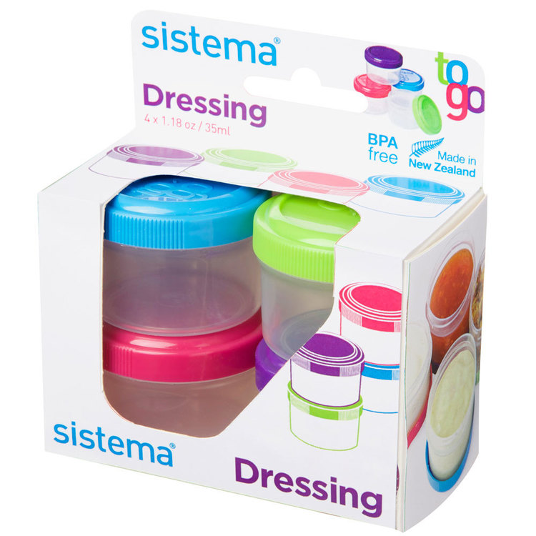 Sistema Dressing Pot To Go 4 Pack Multicoloured 35 mL