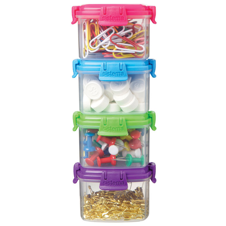 Sistema Knick Knack To Go Mini Container 4 Pack Multicoloured 62 mL
