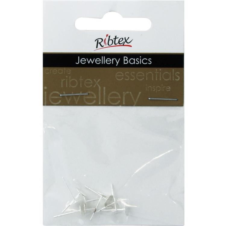 Ribtex Jewellery Basics Flat Front Earring Posts Bright Silver