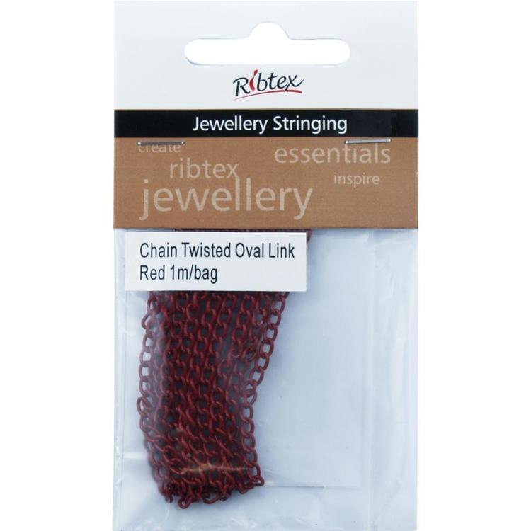 Ribtex Jewellery Stringing Twisted Oval Link Red 1 m