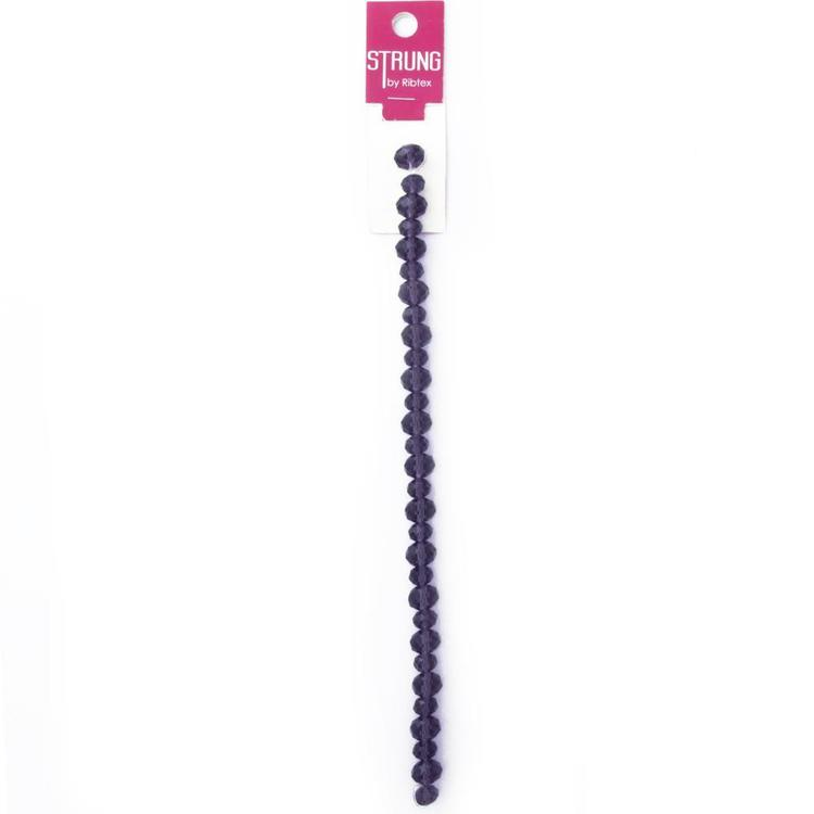 Ribtex Strung Crystal Squashed Faceted Beads 30 Pack Purple